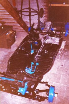 The complete reassembled chassis of the 1972 VW Beetle chassis.