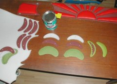 Covering the wooden parts with vinyl for the interior for the 1972 VW Beetle.
